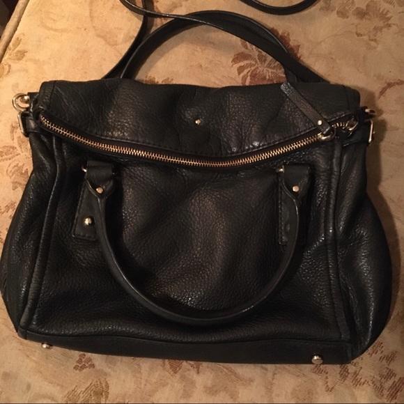 Kate Spade Black Leather Fold-over Satchel